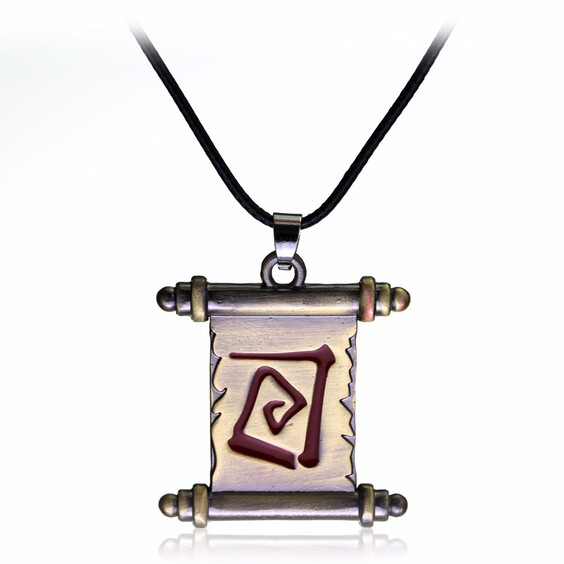 Hot Online Game Dota 2 Transfer Scroll Necklace Alloy Metal Fashion Pendants Gift Jewelry Bronze Rope Chain Necklace
