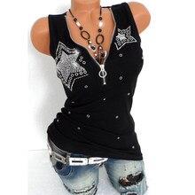 Harajuku Tshirt Diamanten T-shirt Vrouwen Casual Top Tee Fashion Shirts Zomer T-shirt T-shirt Femme Kleding V-hals Plus Size 5XL