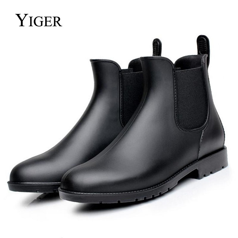 YIGER Men Fashion Waterproof Boots Chelsea Ankle Casual Boots Men rubber rain shoes Exports 0015