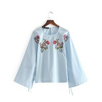 Spain Single 2017 Autumn And Winter New Product Joker Easy Sleeve Chalaza Embroidery Embroidered Pullover Shirt Blouse A4713