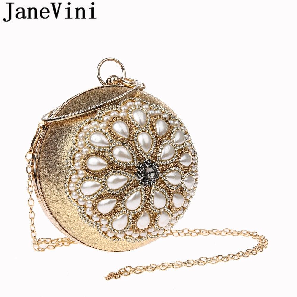 JaneVini Luxury Gold Rhinestones Pearl Ball Bag Women Beaded Party Evening Bag CrossBody Chain Bridal Wedding Round Ball Bags