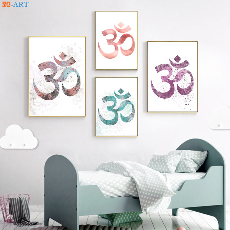 New Watercolor Painting Ohm Symbol Poster and Print Modern Canvas ...