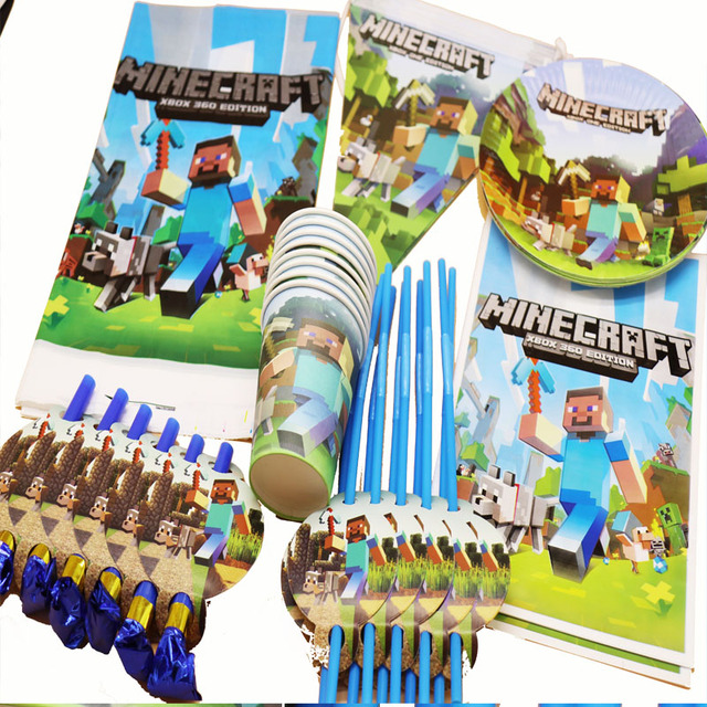 57pcs Lot Minecraft Party Set Baby Shower Decorations Theme Birthday Disposable Plates Cups