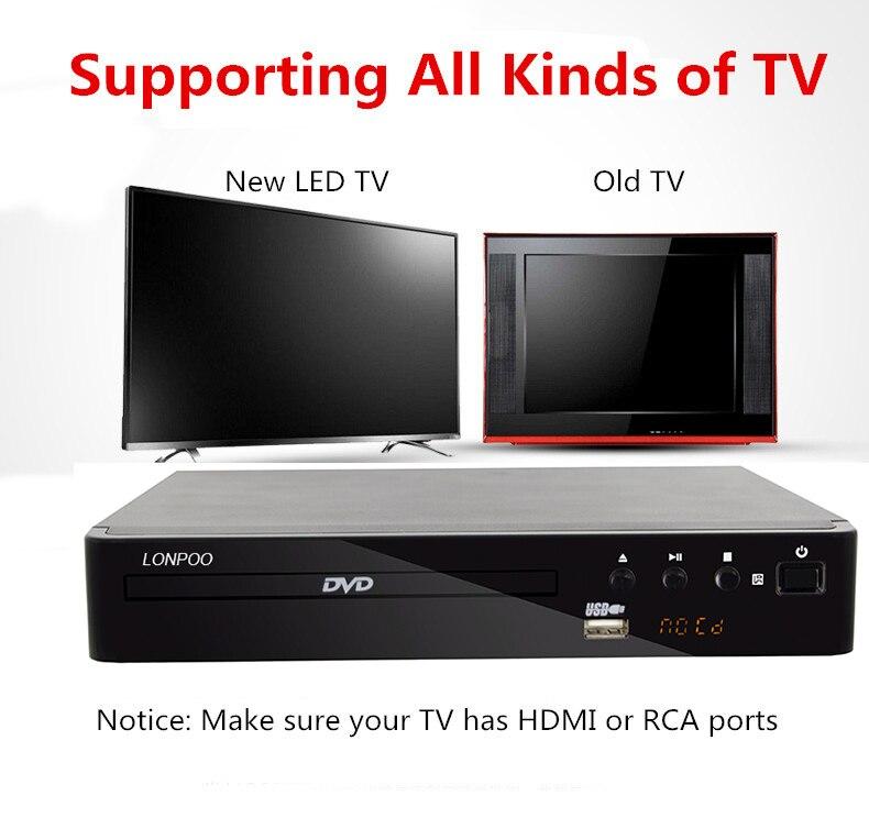 LONPOO Mini USB RCA HDMI reproductor de DVD región libre varios idiomas OSD DIVX DVD reproductor de CD RW reproductor de pantalla LED DVD MP3 - 5