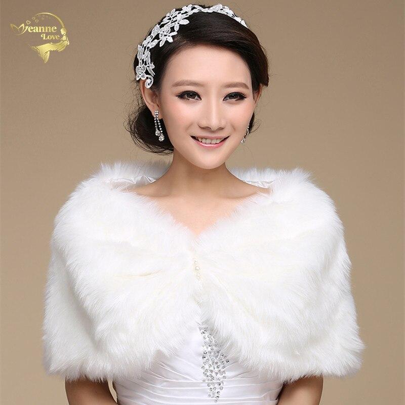Wedding Bolero Outerwear Wedding Accessories Urged Wrap Bride Formal Winter Cape Bride Fur Shawl Wedding Jackets Wrap OJ00168