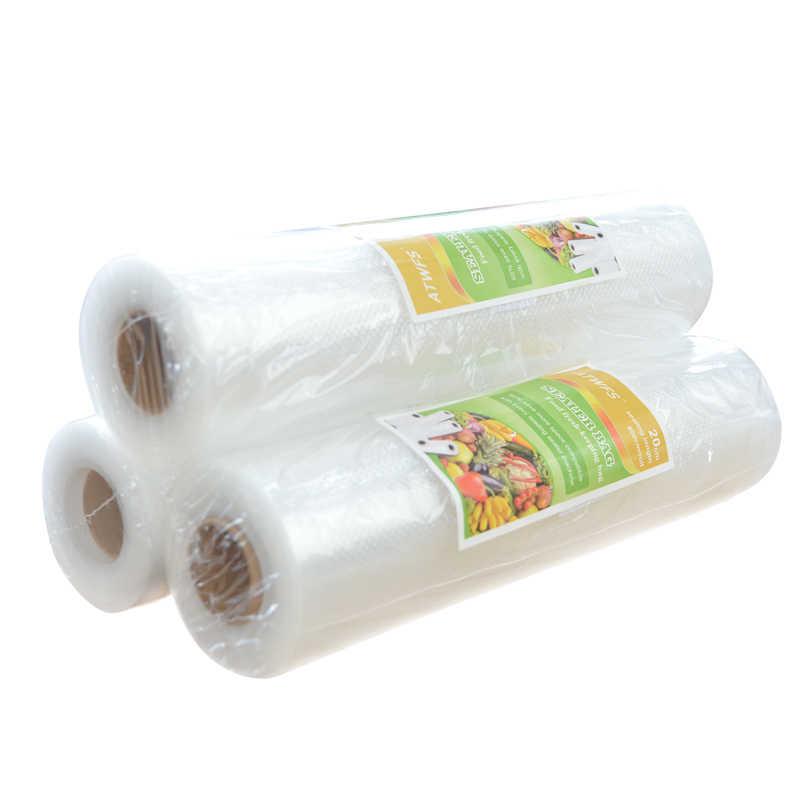 Vakumlu gıda torbası 20cm x 500cm 1 rulo mutfak için vakumlu saklama torbaları ambalaj filmi taze kadar 6x daha uzun