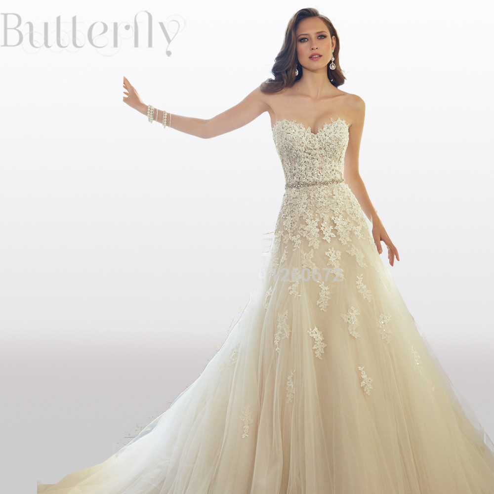 2015 romantic exquisite wedding dresses sweetheart appliques lace 2015 romantic exquisite wedding dresses sweetheart appliques lace bridal gown champagne wedding dress vestidos de novia in wedding dresses from weddings ombrellifo Choice Image