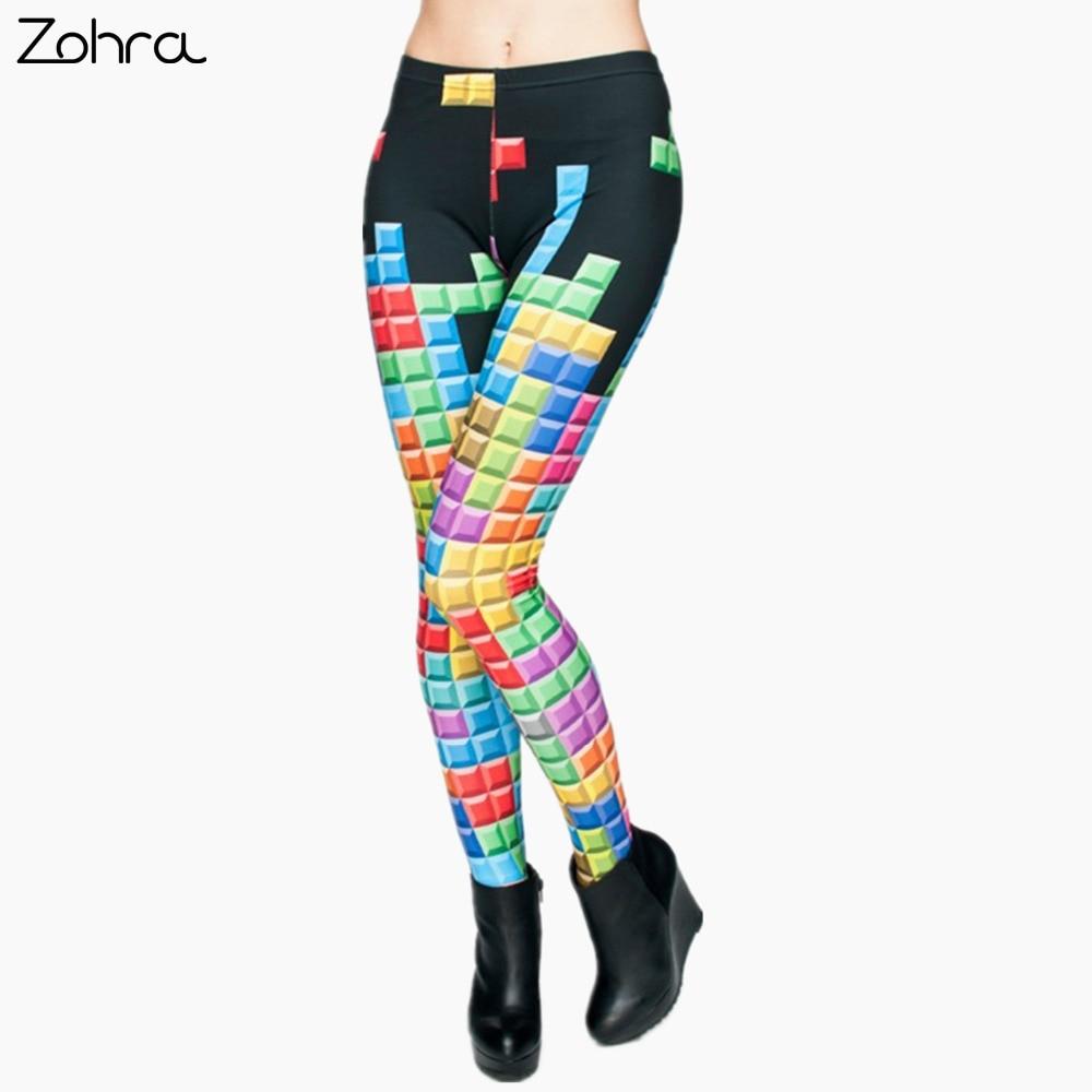 Zohra Fashion Brand Tetris 3D Graphic Full Printing Punk Women <font><b>Fitness</b></font> Legging Stretchy Trousers Casual Pants Leggings