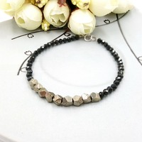 LiiJi Unique Pyrite Black Spinels 925 Sterling Silver Shining Fashion Chic Bracelet For Women Men