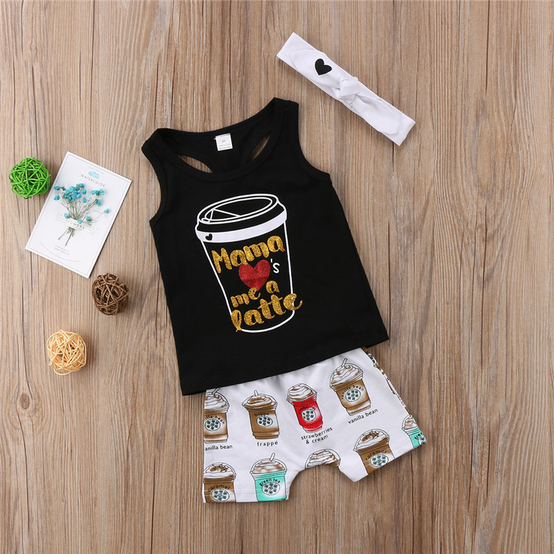 Kids Toddler Baby Girls Boys clothes round neck sleeveless letter print Tops Geometry Shorts Bow Headband 3pc cotton Outfit