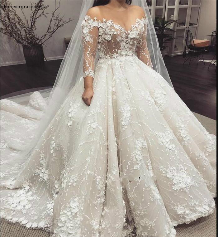 Luxury Vintage Princess See Through Wedding Dresses 2019 Sheer Sleeves Appliques Formal Bride Bridal Gowns Plus Size Custom Made