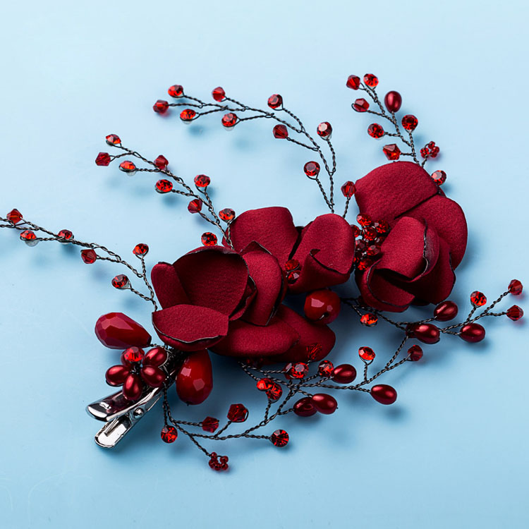 36285158d93b9 US $11.26 35% OFF|Dower me Handmade Burgundy Floral Hair Clip Bridal  Rhinestone Hair Comb Accessories Women Prom Headpiece Wedding Jewelry-in  Hair ...