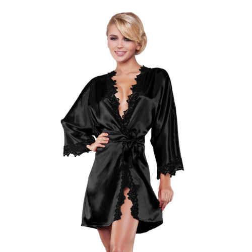 ファッションホット販売女性のセクシーなプロモーション長袖レース高分割 V ネック着物サテンシルクナイトパジャマドレス M-XL