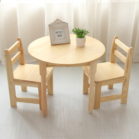 Children Furniture Sets One Desk+two Chairs Sets Pine Solid Wood Kids  Furniture Sets Kids