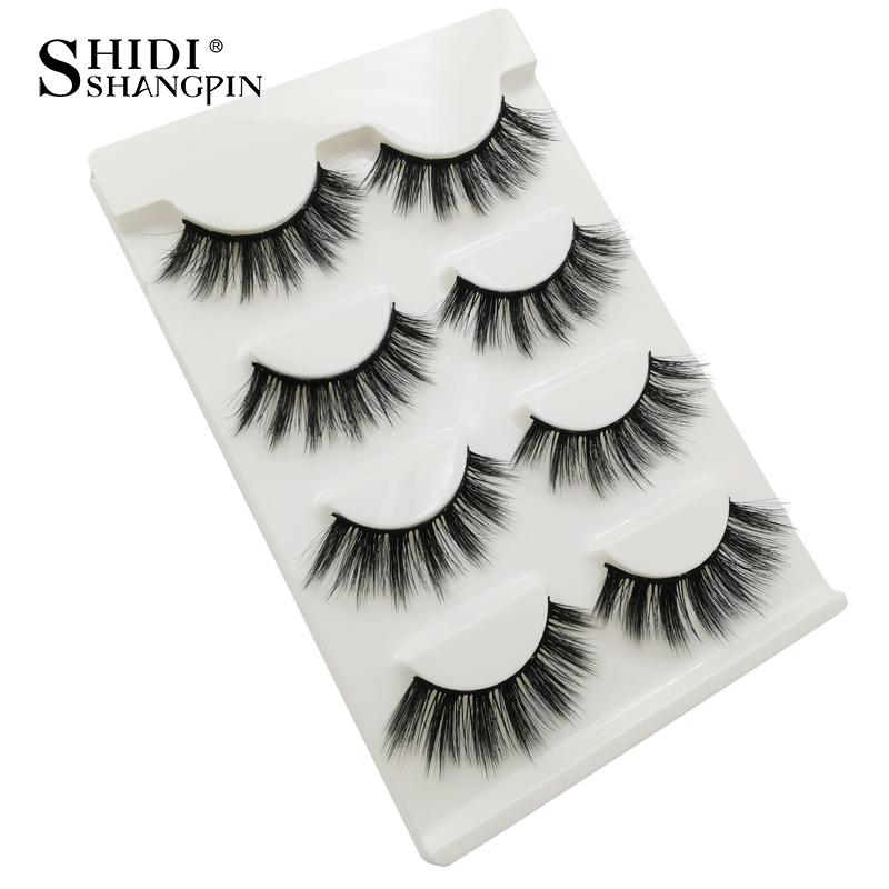 HTB1NCMvaJfvK1RjSszhq6AcGFXaz Natrual long 3D Mink False Eyelashes wholesale 4 pairs Fluffy Make up Full Strip Lashes 3D Mink Lashes faux cils Soft Maquiagem