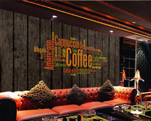 Bacaz English Letters Wood Panel Wallpaper Mural For Coffee Cafe Restaurant Hotel Background 3D Wall