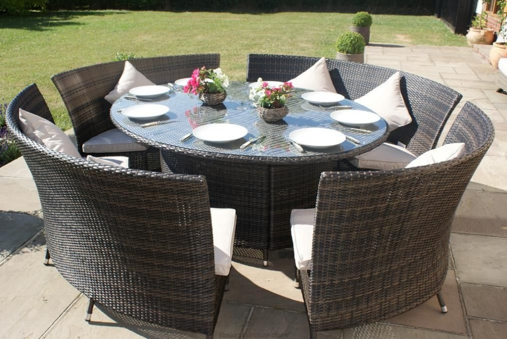 New Designed Rattan Garden Dinner Table Set Bench With 10