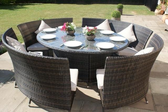 Nieuwe Ontworpen Rotan Tuin Diner Tafel Set Bench Met 10