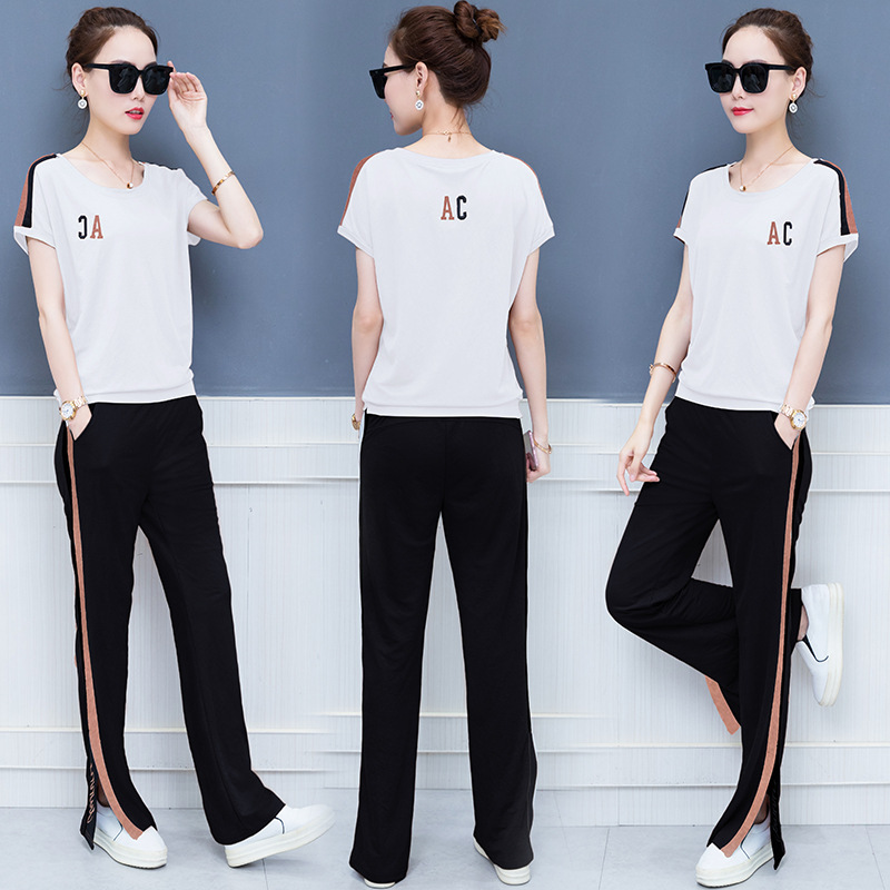Summer Women Sportswear Tracksuit Wide Leg Loose Pants T shirt Sweatshirt Running Jogger Casual Fitness Exercise Workout Set in Trainning Exercise Sets from Sports Entertainment