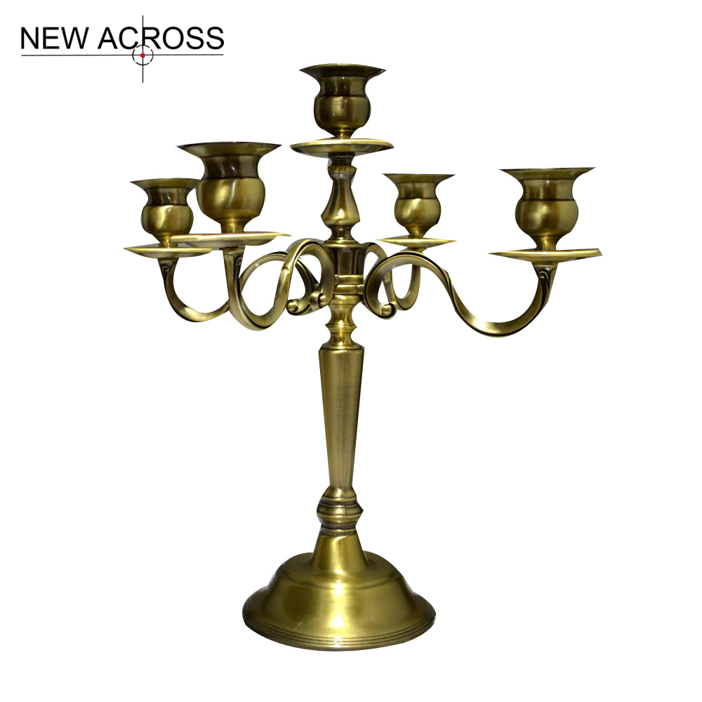 Gohide 1pcs Candle Stand Antique Copper Color Candle Table Luxurious Bronze 5 Heads Candelabra Matching Stick Candle