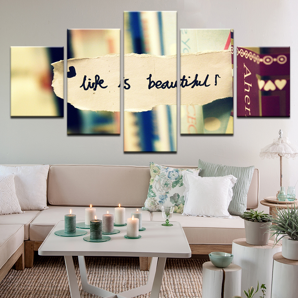 5 Pieces HD Wall Art Life Is Beautiful Abstract Bookshelf Background Canvas Home Decoratives Paintings Framed In Painting Calligraphy From Garden