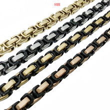 4/5/8mm Byzantine Box Link Chain Necklace For Men Stainless Steel Gold Silver Black Fashion Jewelry Wholesale 7-40