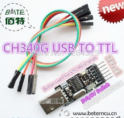 Frete grátis! 3 PCS CH340G módulo conversor USB 2.0 para TTL 6PIN série forp romi de em vez de CP2104 CP2102 PL-2303HX