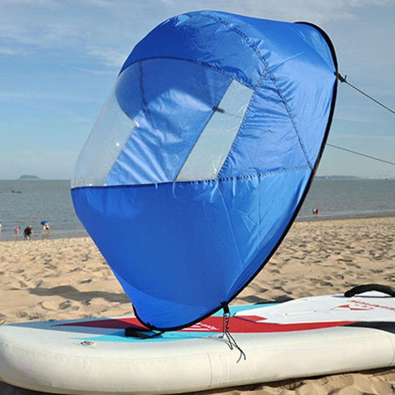 42 Kayak Wind Paddle Sailing Boat Popup Board Sail Rowing Downwind Boat caiaque With Clear Window Sail Accessories 4 Colors