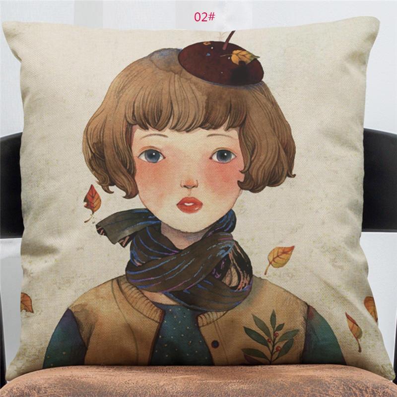 45cm*45cm Cushion cover Little fresh girl linen/cotton pillow case Home decorative pillow cover seat pillow case