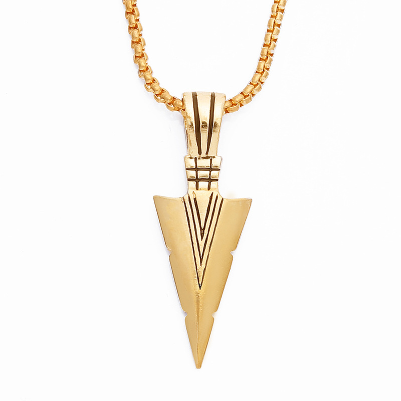 Striking necklace goldsilver plated vintage spearhead arrowhead striking necklace goldsilver plated vintage spearhead arrowhead pendant necklace for men special surf bike chocker jewelry in pendant necklaces from aloadofball Image collections