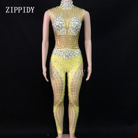 Sexy Gold Sparkly Stones Bodysuit Women Birthday Celebrate Jumpsuit Singer Dancer Performance Fashion Stretch Leggings Outfit