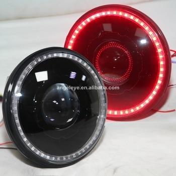 For Jeep Wrangler 2007-2015 Head Light Red LED Angel Eyes Black Color Housing