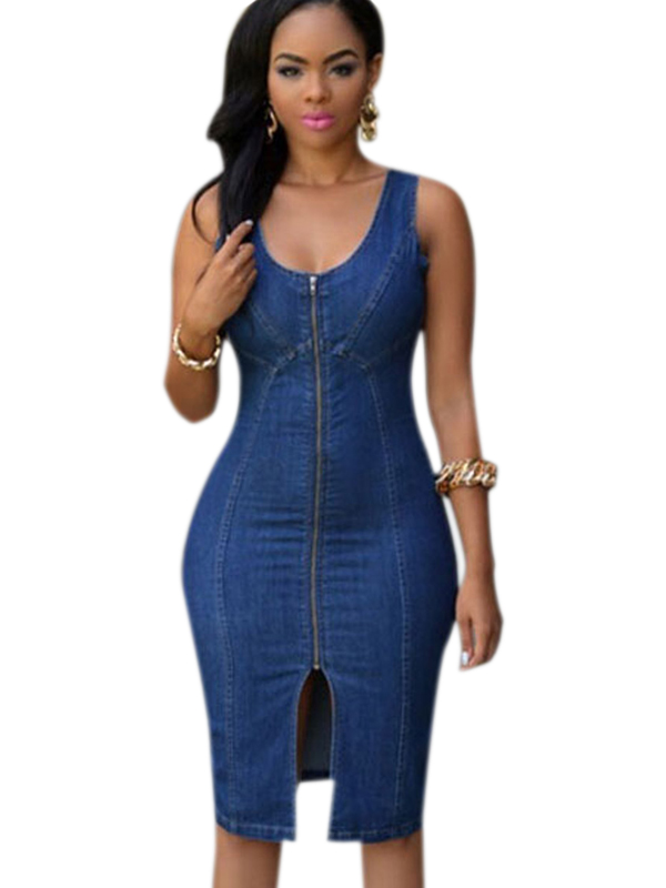 Shop711083 Store 2016 Summer Vestidos Women Jeans Denim Dress Casual Sleeveless Sexy Blue Denim Zipper Front Bodycon Party Midi Club Dress S60659