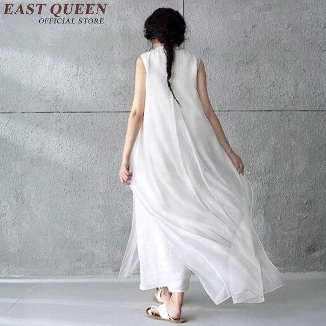 212b4acbf48379 Natürliche weiß spitze sommerkleid ärmelloses baumwolle maxi kleid vintage  sommer lange weiß sommerkleid split falsche zwei