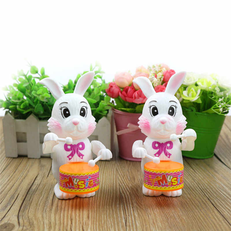 Rabbit Drumming Toy Funny Cute Kid Girls Clockwork New Hot Sale 1pcs Cartoon Rabbit Drumming Toy Wind-Up Developmental Toy Gift