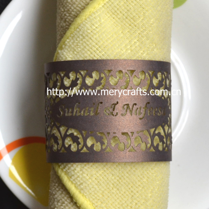 laser cut wholesale wedding napkin rings with namespurple blue