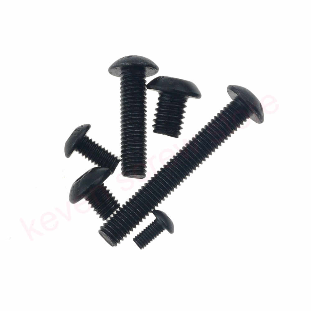 50 pcs M5x16 มม. M5 * 16 มม. หยวนหยวนครึ่งรอบหัวสีดำเกรด 10.9 เหล็กกล้าไร้สนิม Hex socket Head Cap Screw