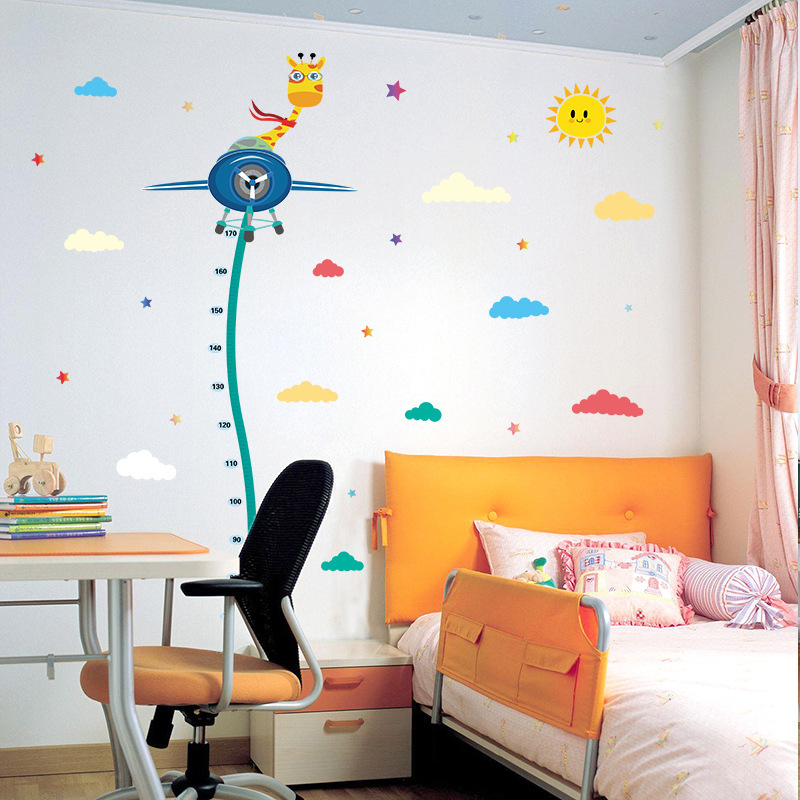Giraffe flying a plane Height Sticker Clouds Stars Decoration Child Height Measure Wall Stickers for kids room Diy Vinyl Decals
