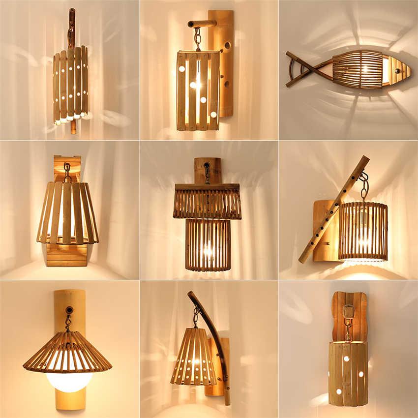 китайский стиль деревянный лофт настенные светильники винтаж