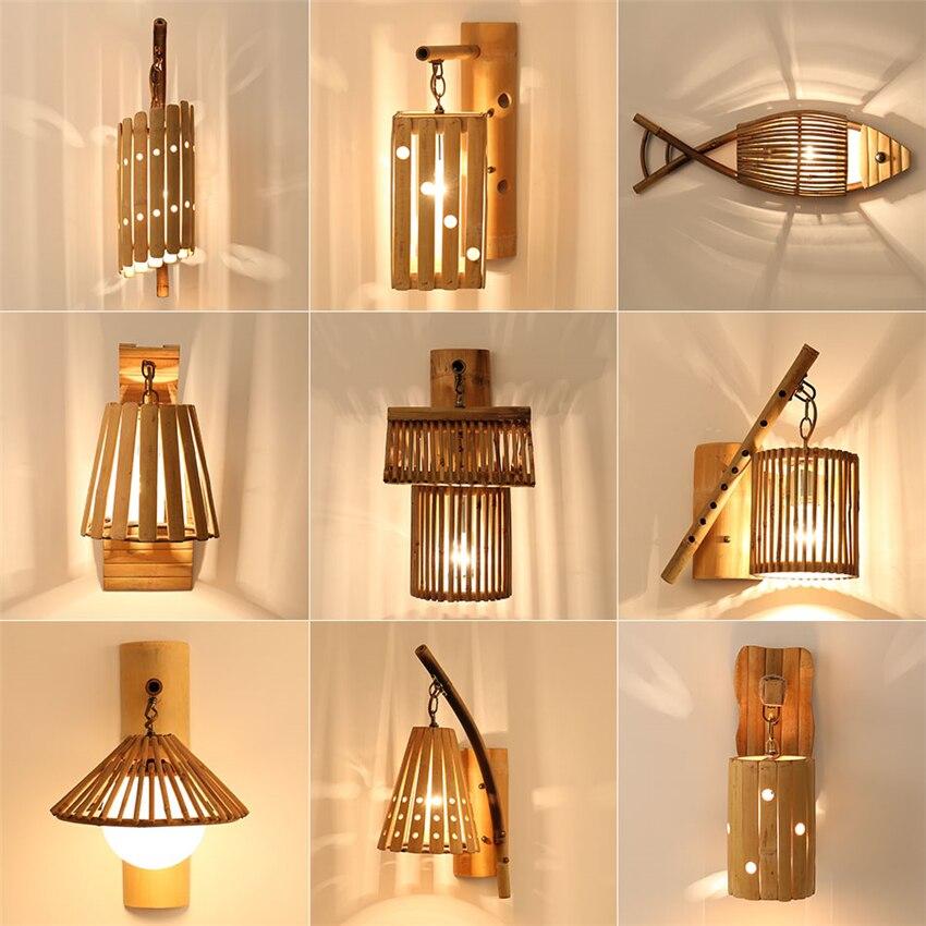 Chinese Style Wooden Loft Wall Lamps Vintage Hand Made Bedroom Living Room Study Wall Lights Corridor Decorative Sconce Lighting декоративні лампи із дерева у стилі бра