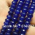 Venta caliente Azul Jade Jaspe piedra 5x8mm Facetada Rondelle Abacus Granos Flojos Mujeres de la Alta Calidad Diy Del Espaciador joyería 15 inch GE4135