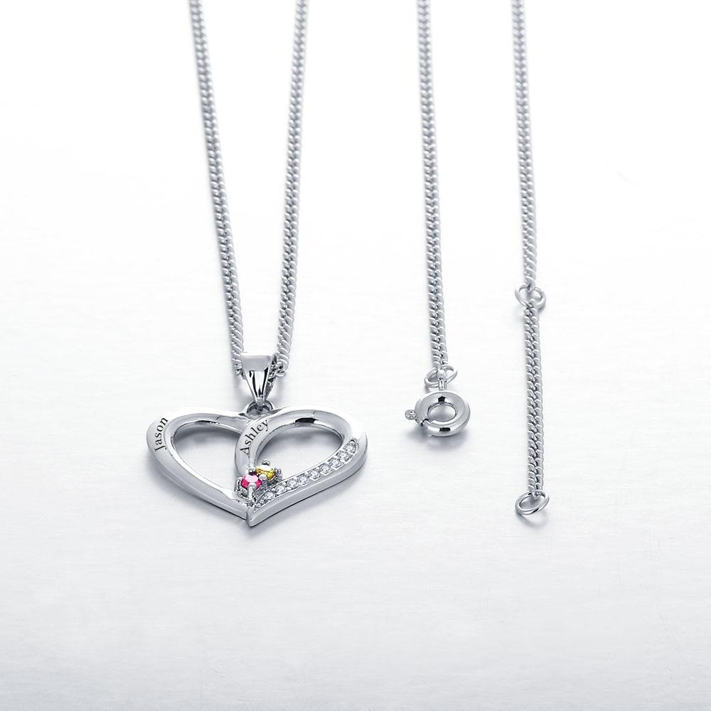 Personalisierte Halsketten 925 Sterling Silber Herzform Anhänger - Edlen Schmuck - Foto 5