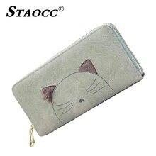 Fashion Cartoon Plush Cat Wallet Female Clutch Long Ladies Money Bag Zipper Coin Purse Card Holders Women Wallet Carteira 2018