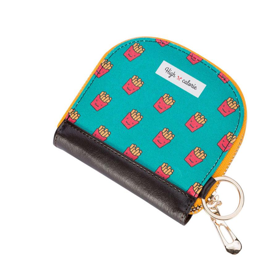 Xiniu womens purse Small Canvas Food Print wallet with zipper Clutch Bag monedero mujer #5M