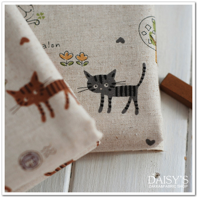 100x150cm Printing Cats Cotton Linen Fabric Retro Upholstery Linen