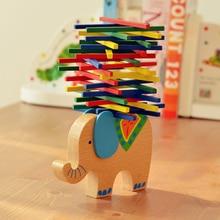 Baby Building Blocks Toys Educational Elephant and Camel Balancing Blocks Wooden Toys Beech Wood Balance Game