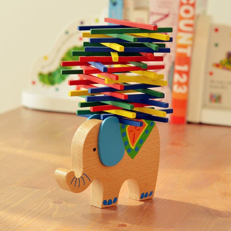 Baby Building Blocks font b Toys b font Educational Elephant and Camel Balancing Blocks Wooden font