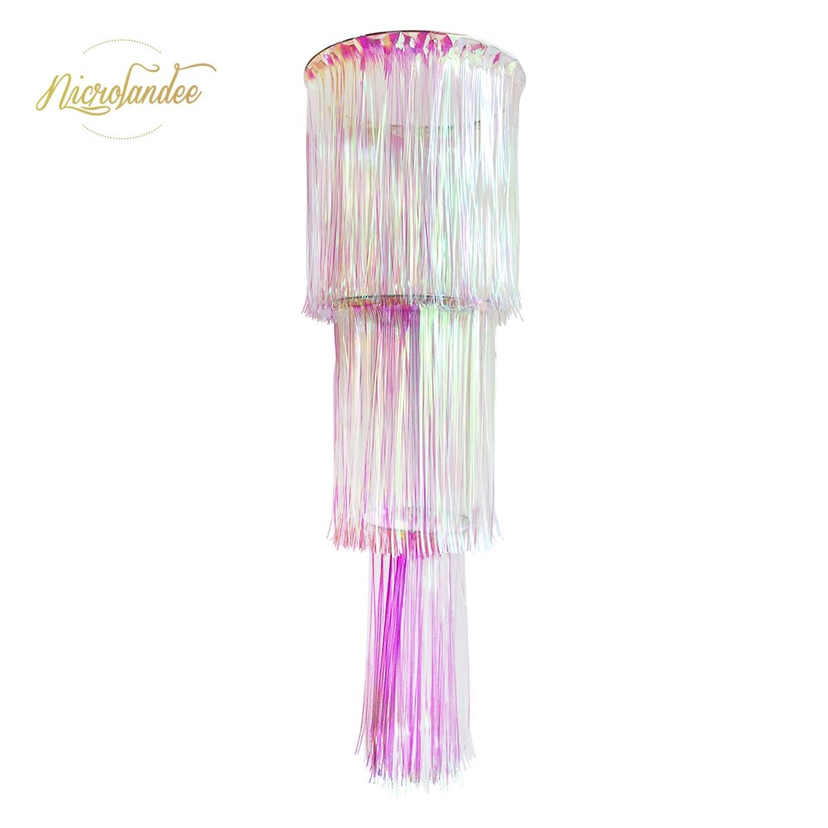 NICROLANDEE 3-camada Iridescente Rainbow Folha Chandelier Chuva Cortina Pendurado Impressionante Prom Party Decor Decoração