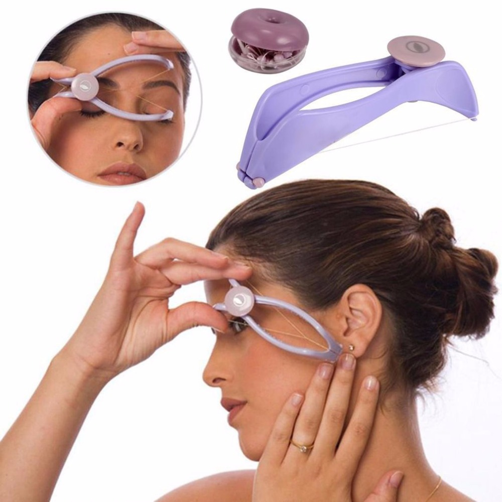 Mulheres de Mini Portáteis Depilação Facial Primavera Enfiar Depilador Facial Defeatherer DIY Ferramenta de Beleza para o Rosto de Maquiagem Sobrancelha