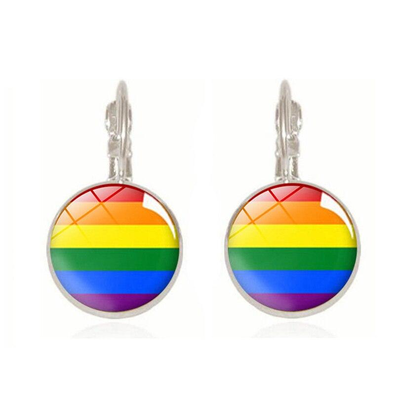 2019 nova chegada lésbica gay orgulho brincos colorido arco-íris redondo cúpula de vidro brincos para mulher lgbt jóias acessórios